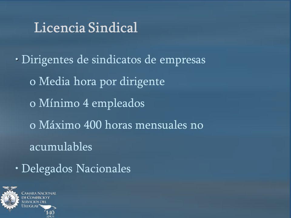 Licencia Sindical Dirigentes de sindicatos de empresas o Media hora por dirigente o Mínimo 4 empleados o Máximo 400 horas mensuales no acumulables Delegados Nacionales