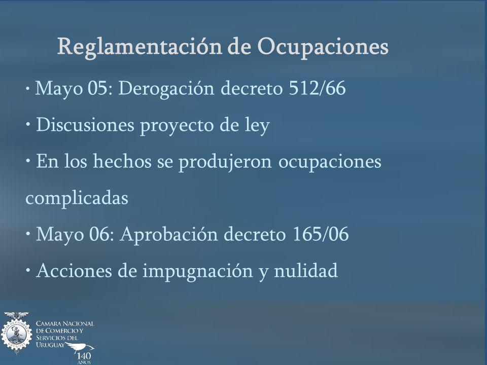 Reglamentación de Ocupaciones Mayo 05: Derogación decreto 512/66 Discusiones proyecto de ley En los hechos se produjeron ocupaciones complicadas Mayo 06: Aprobación decreto 165/06 Acciones de impugnación y nulidad