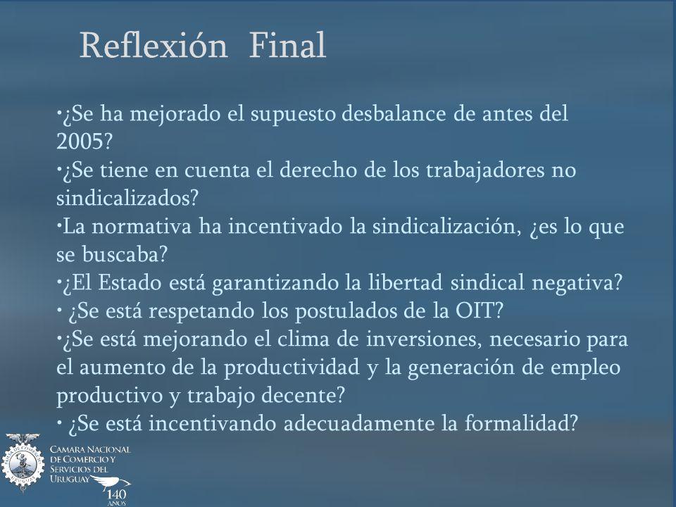 Reflexión Final ¿Se ha mejorado el supuesto desbalance de antes del 2005.