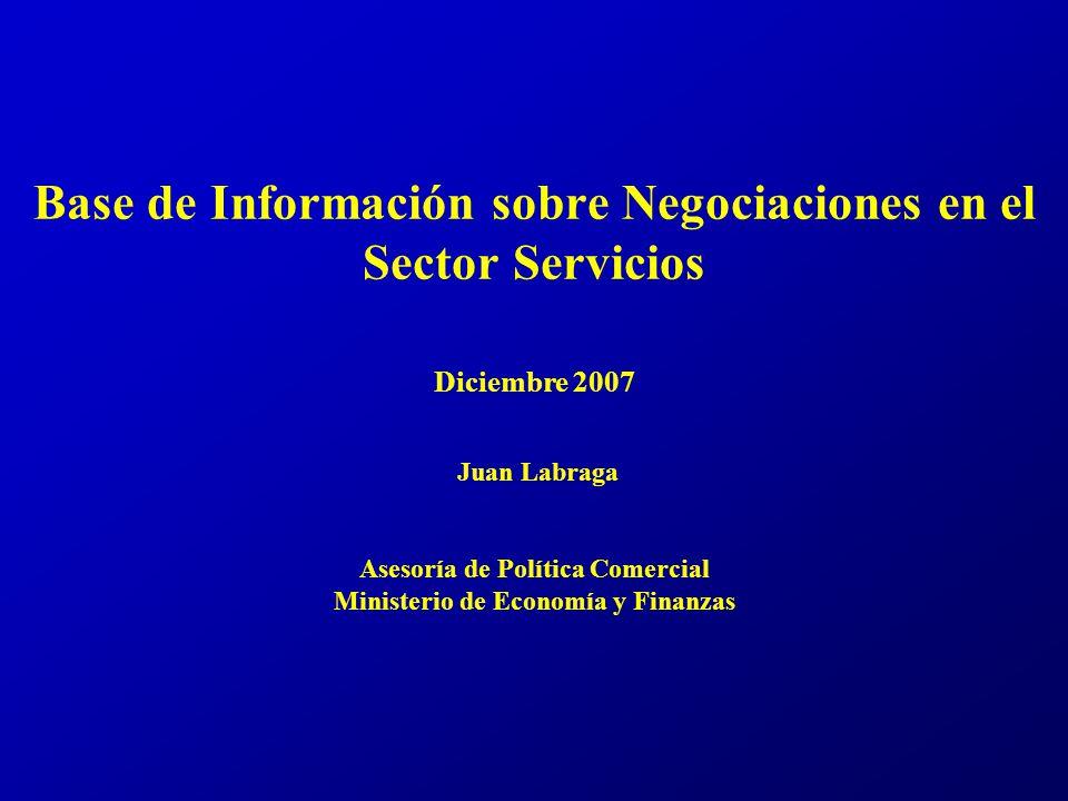 Base de Información sobre Negociaciones en el Sector Servicios Diciembre 2007 Juan Labraga Asesoría de Política Comercial Ministerio de Economía y Finanzas