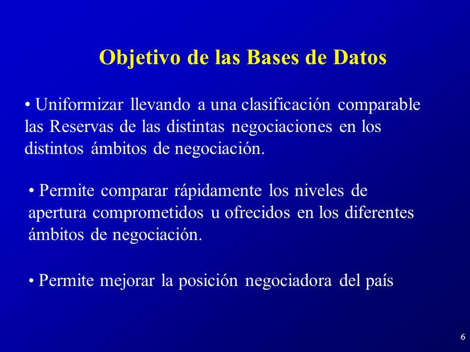 6 Objetivo de las Bases de Datos Permite comparar rápidamente los niveles de apertura comprometidos u ofrecidos en los diferentes ámbitos de negociación.