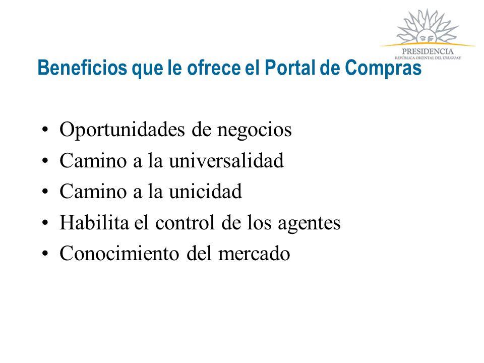Beneficios que le ofrece el Portal de Compras Oportunidades de negocios Camino a la universalidad Camino a la unicidad Habilita el control de los agentes Conocimiento del mercado