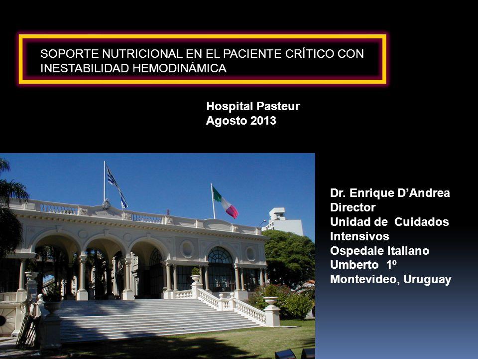 Hiperlactatemia (tardío) Acidosis no explicada Aumento de pCO2 intragástrico Asas intestinales dilatadas-engrosadas Neumatosis intestinal Aire en la vena porta Aire en la cavidad peritoneal Adaptado de McClave et al: NCP 2003 Hipoperfusión esplácnica – Signos de alarma