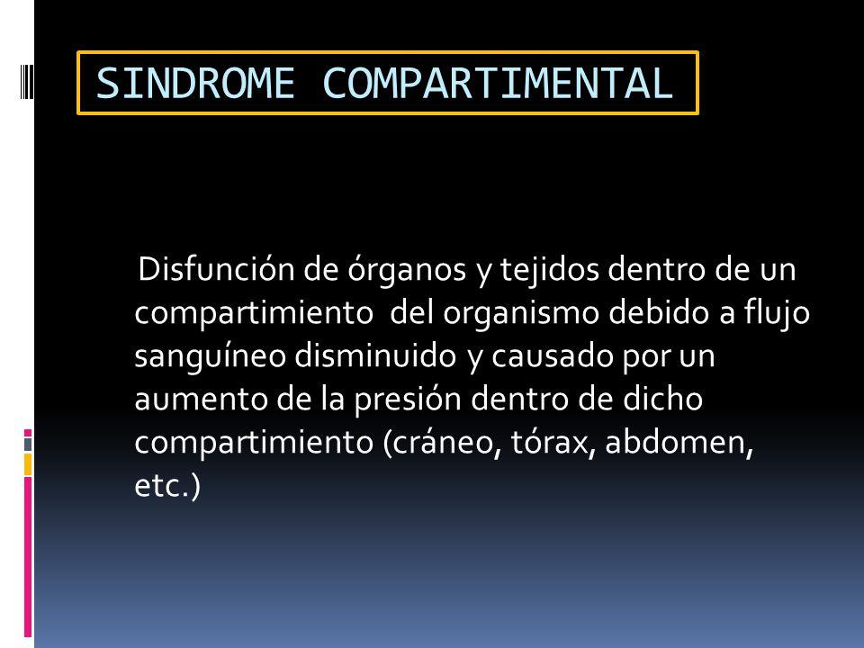 SINDROME COMPARTIMENTAL Disfunción de órganos y tejidos dentro de un compartimiento del organismo debido a flujo sanguíneo disminuido y causado por un