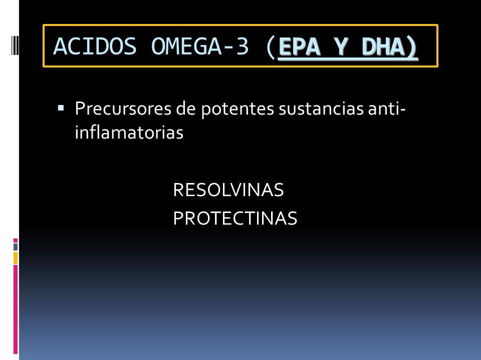 EPA Y DHA) ACIDOS OMEGA-3 (EPA Y DHA) Precursores de potentes sustancias anti- inflamatorias RESOLVINAS PROTECTINAS
