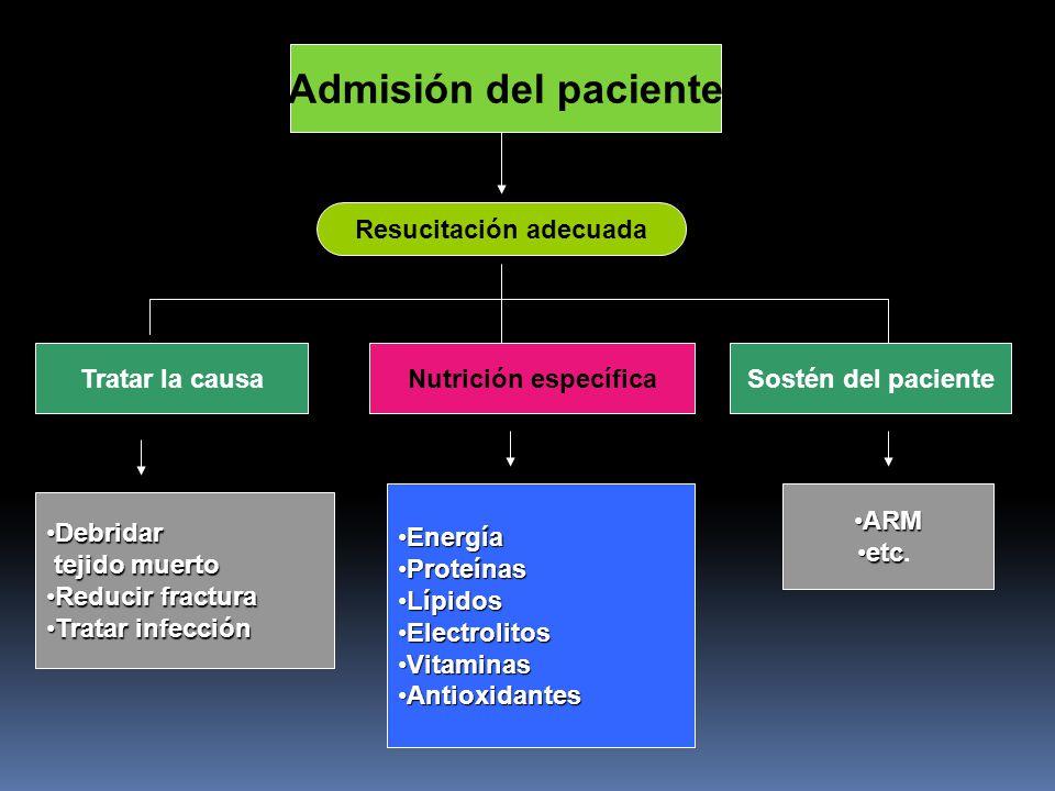 Admisión del paciente Resucitación adecuada Tratar la causaNutrición específicaSostén del paciente DebridarDebridar tejido muerto tejido muerto Reduci