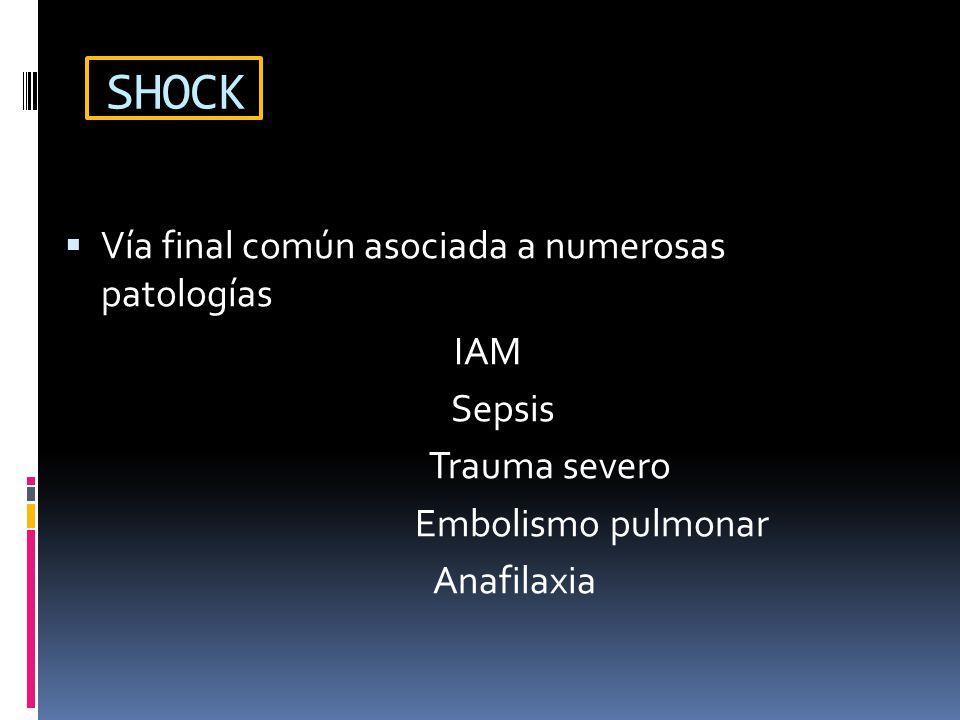 SHOCK Vía final común asociada a numerosas patologías IAM Sepsis Trauma severo Embolismo pulmonar Anafilaxia