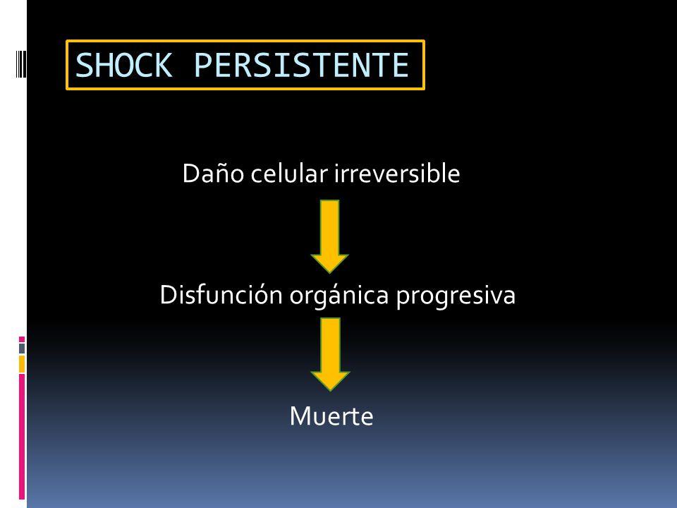 SHOCK PERSISTENTE Daño celular irreversible Disfunción orgánica progresiva Muerte