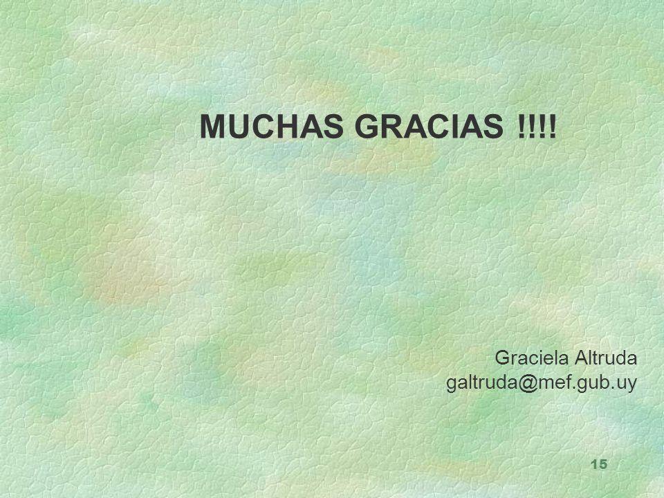 15 MUCHAS GRACIAS !!!! Graciela Altruda galtruda@mef.gub.uy