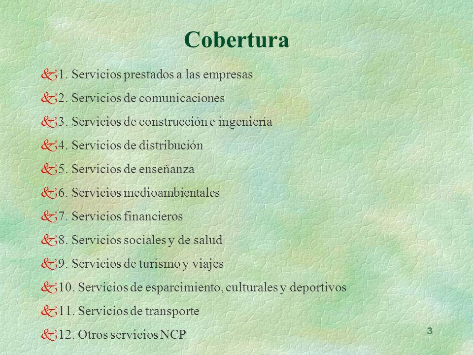 3 k1. Servicios prestados a las empresas k2. Servicios de comunicaciones k3. Servicios de construcción e ingeniería k4. Servicios de distribución k5.