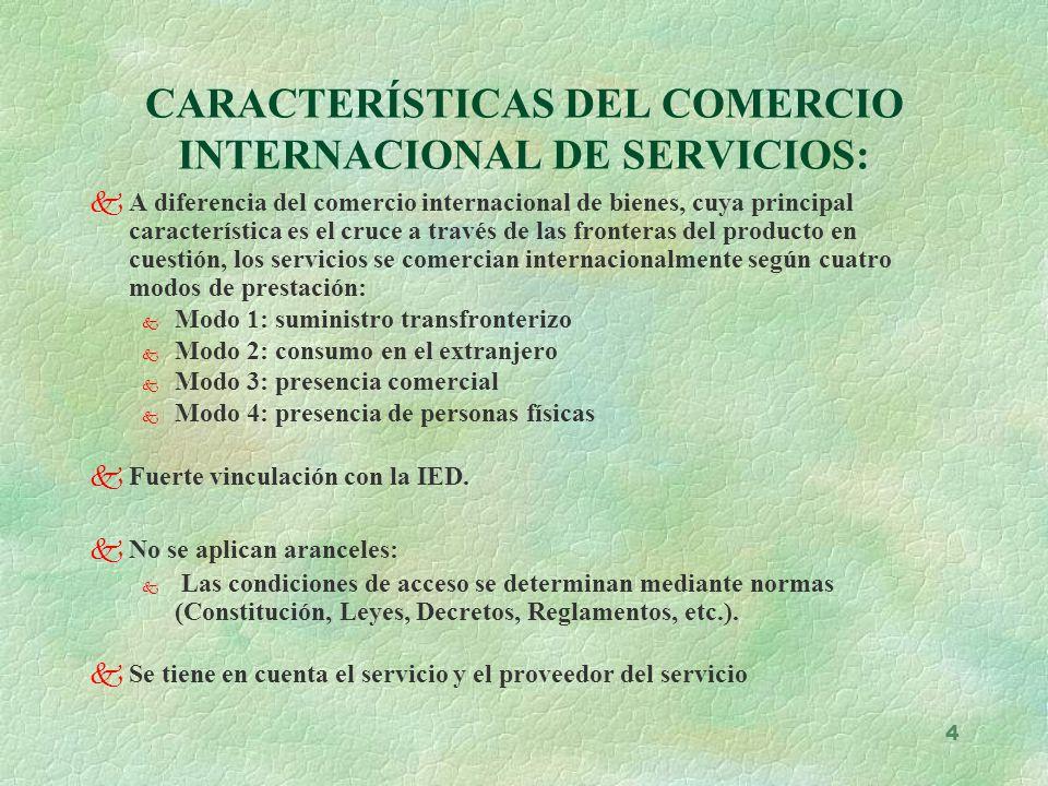 4 CARACTERÍSTICAS DEL COMERCIO INTERNACIONAL DE SERVICIOS: kA diferencia del comercio internacional de bienes, cuya principal característica es el cru