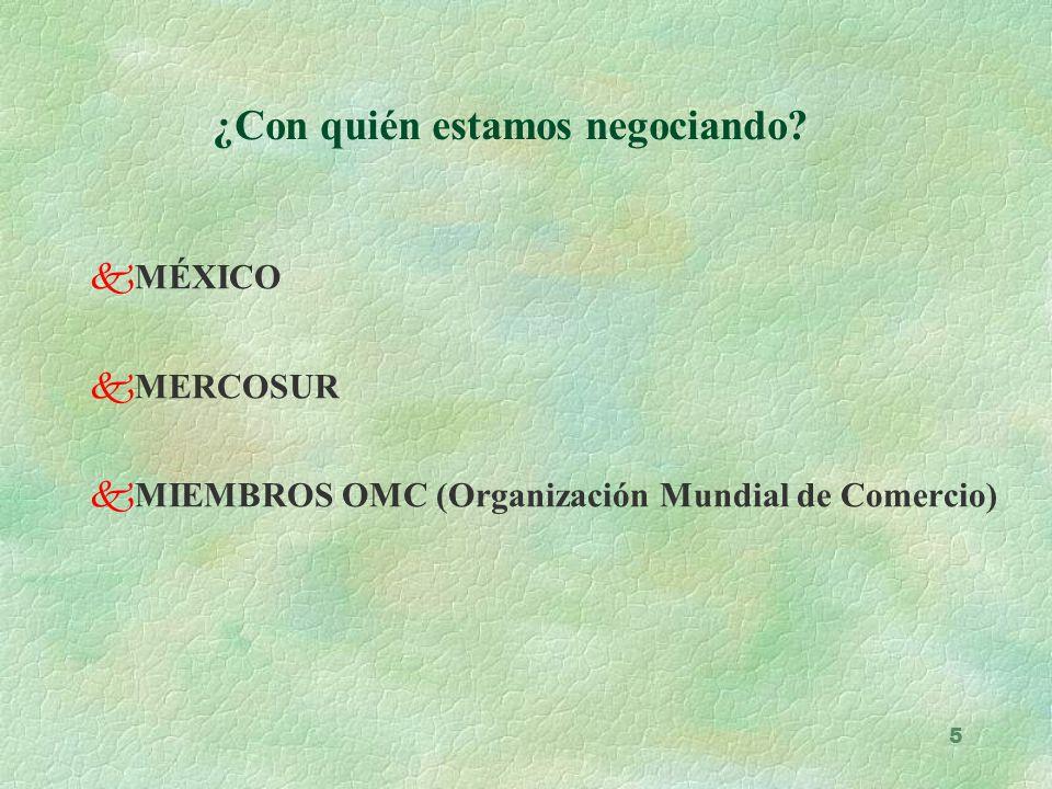 5 ¿Con quién estamos negociando? kMÉXICO kMERCOSUR kMIEMBROS OMC (Organización Mundial de Comercio)