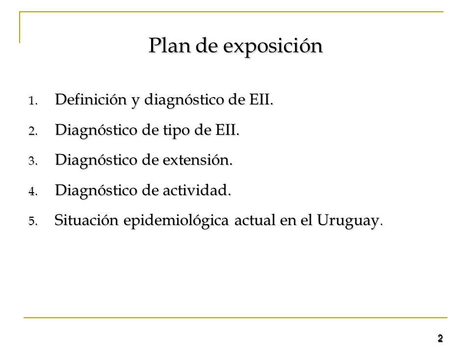 2 Plan de exposición 1. Definición y diagnóstico de EII. 2. Diagnóstico de tipo de EII. 3. Diagnóstico de extensión. 4. Diagnóstico de actividad. 5. S