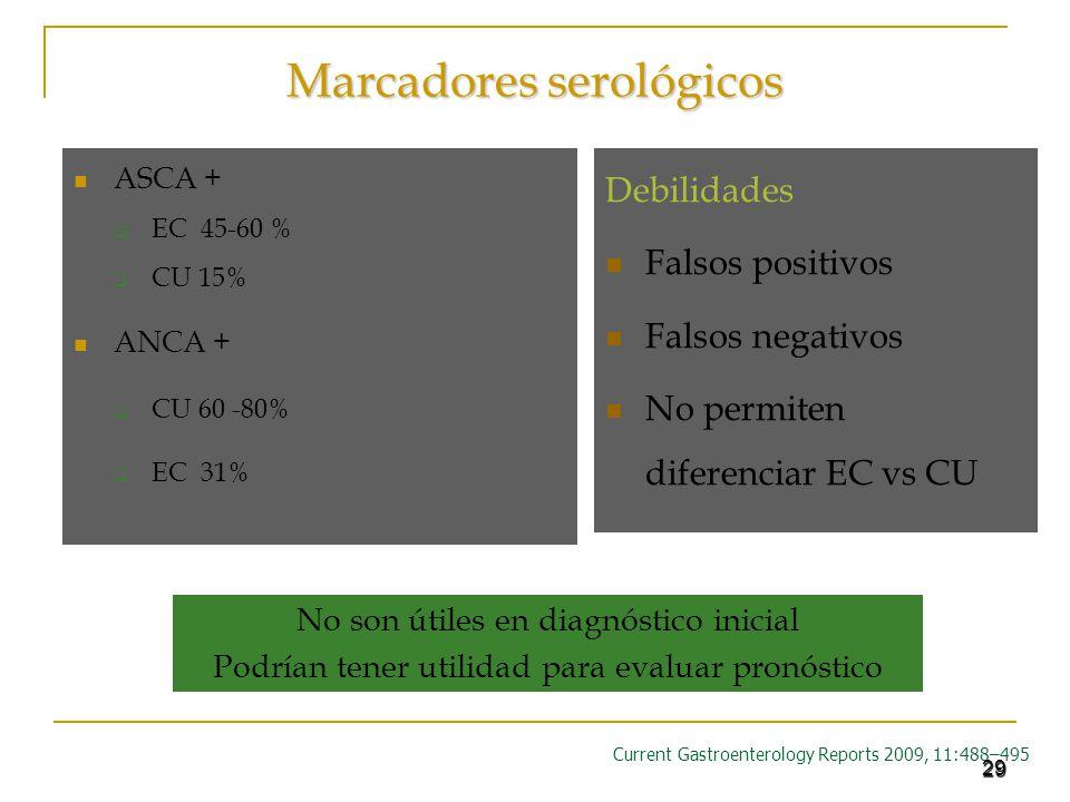 29 Marcadores serológicos ASCA + EC 45-60 % CU 15% ANCA + CU 60 -80% EC 31% Current Gastroenterology Reports 2009, 11:488–495 No son útiles en diagnós