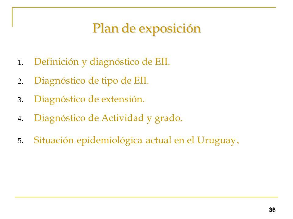 36 Plan de exposición 1. Definición y diagnóstico de EII. 2. Diagnóstico de tipo de EII. 3. Diagnóstico de extensión. 4. Diagnóstico de Actividad y gr