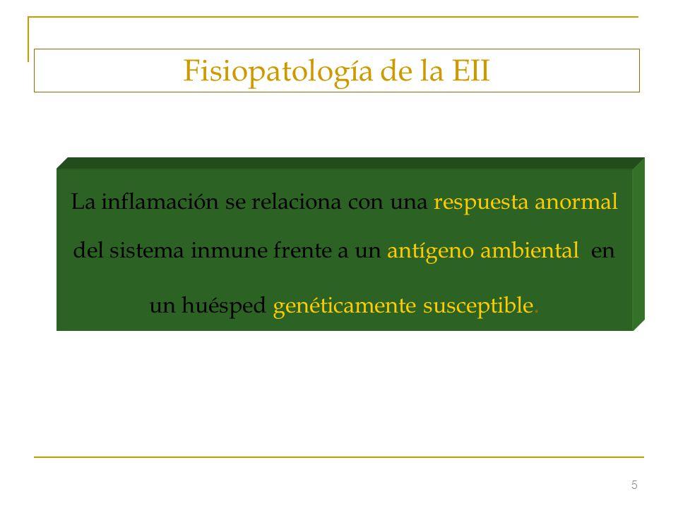 5 Fisiopatología de la EII La inflamación se relaciona con una respuesta anormal del sistema inmune frente a un antígeno ambiental en un huésped genét