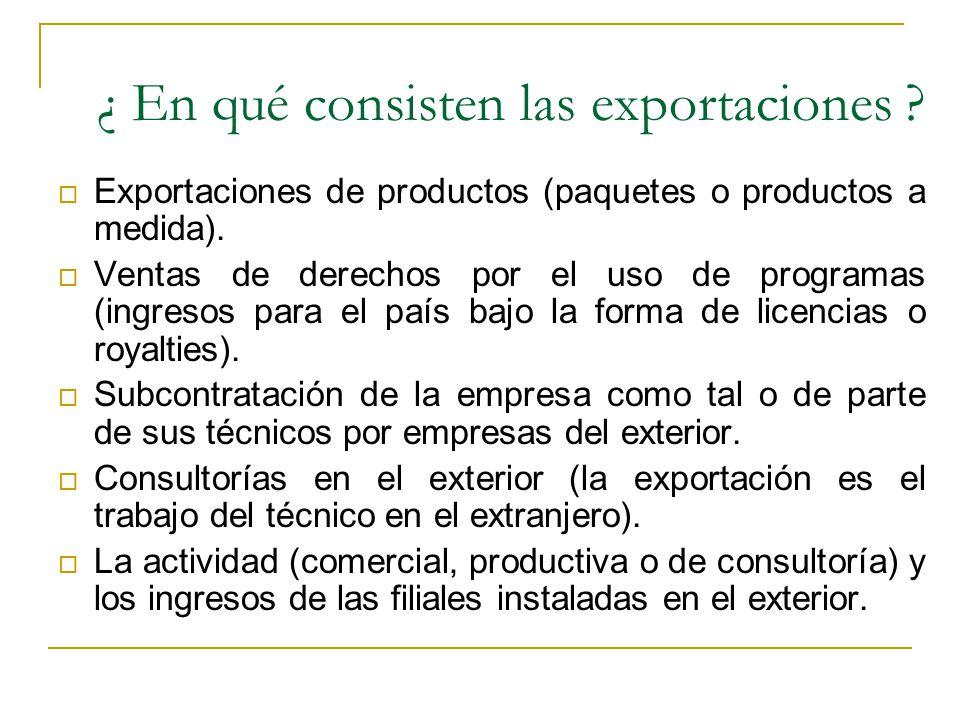 ¿ En qué consisten las exportaciones ? Exportaciones de productos (paquetes o productos a medida). Ventas de derechos por el uso de programas (ingreso