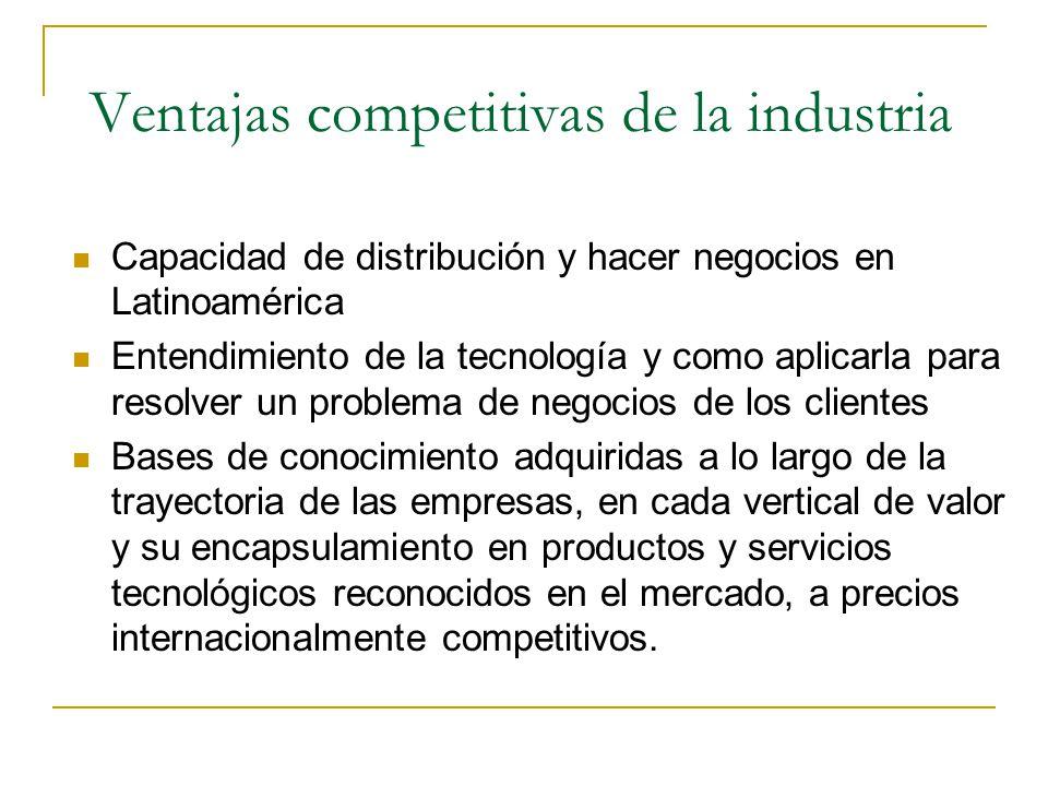 Ventajas competitivas de la industria Capacidad de distribución y hacer negocios en Latinoamérica Entendimiento de la tecnología y como aplicarla para