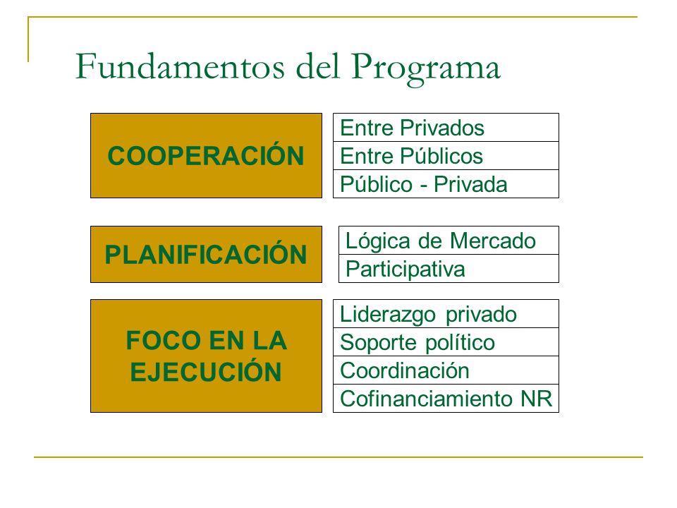 Fundamentos del Programa COOPERACIÓN Entre Privados Público - Privada PLANIFICACIÓN Lógica de Mercado Participativa FOCO EN LA EJECUCIÓN Cofinanciamie