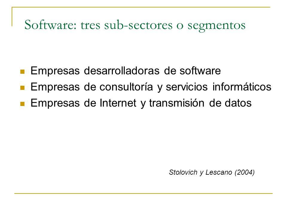 Software: tres sub-sectores o segmentos Empresas desarrolladoras de software Empresas de consultoría y servicios informáticos Empresas de Internet y t
