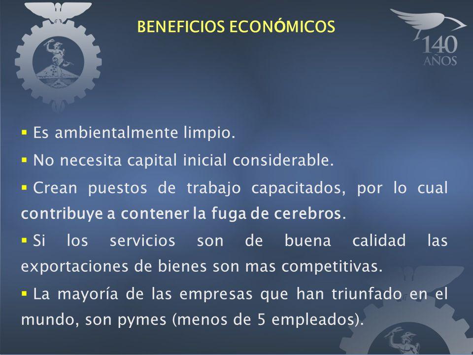 BENEFICIOS ECON Ó MICOS Es ambientalmente limpio. No necesita capital inicial considerable.