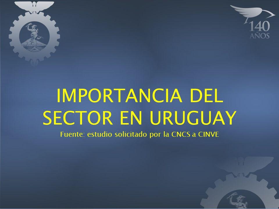 IMPORTANCIA DEL SECTOR EN URUGUAY Fuente: estudio solicitado por la CNCS a CINVE