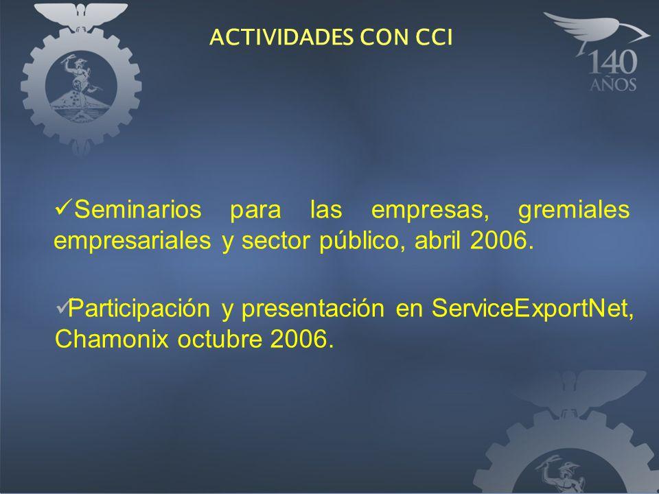Seminarios para las empresas, gremiales empresariales y sector público, abril 2006.