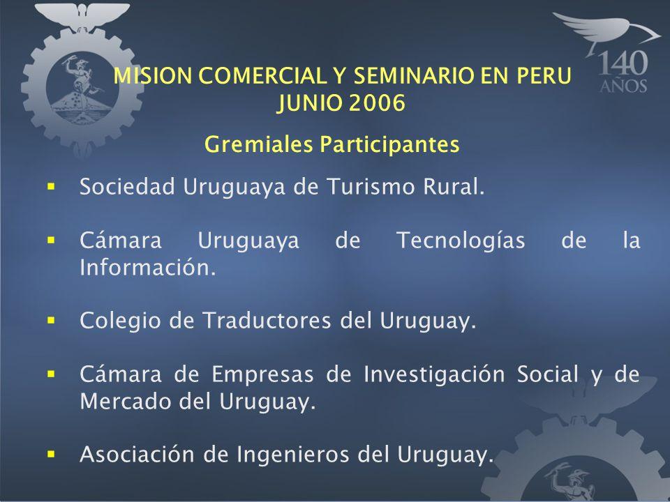 Sociedad Uruguaya de Turismo Rural. Cámara Uruguaya de Tecnologías de la Información. Colegio de Traductores del Uruguay. Cámara de Empresas de Invest