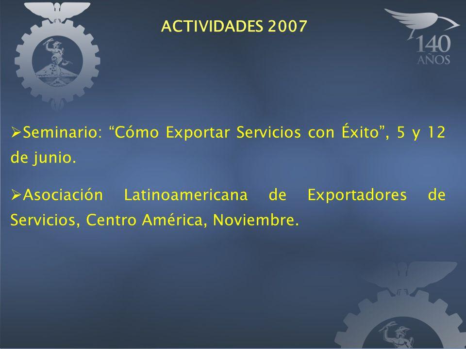 Seminario: Cómo Exportar Servicios con Éxito, 5 y 12 de junio. Asociación Latinoamericana de Exportadores de Servicios, Centro América, Noviembre. ACT