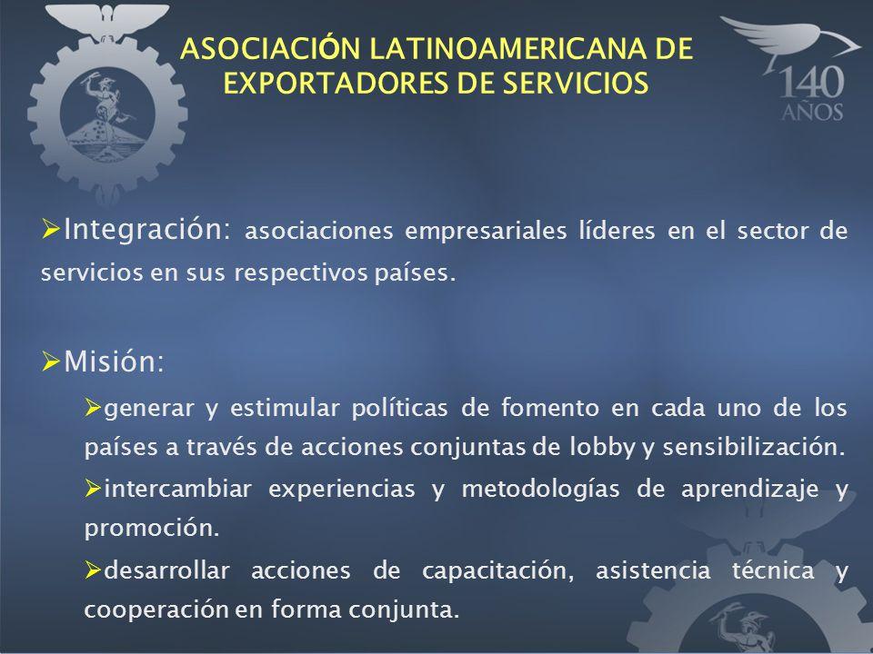 ASOCIACI Ó N LATINOAMERICANA DE EXPORTADORES DE SERVICIOS Integración: asociaciones empresariales líderes en el sector de servicios en sus respectivos países.