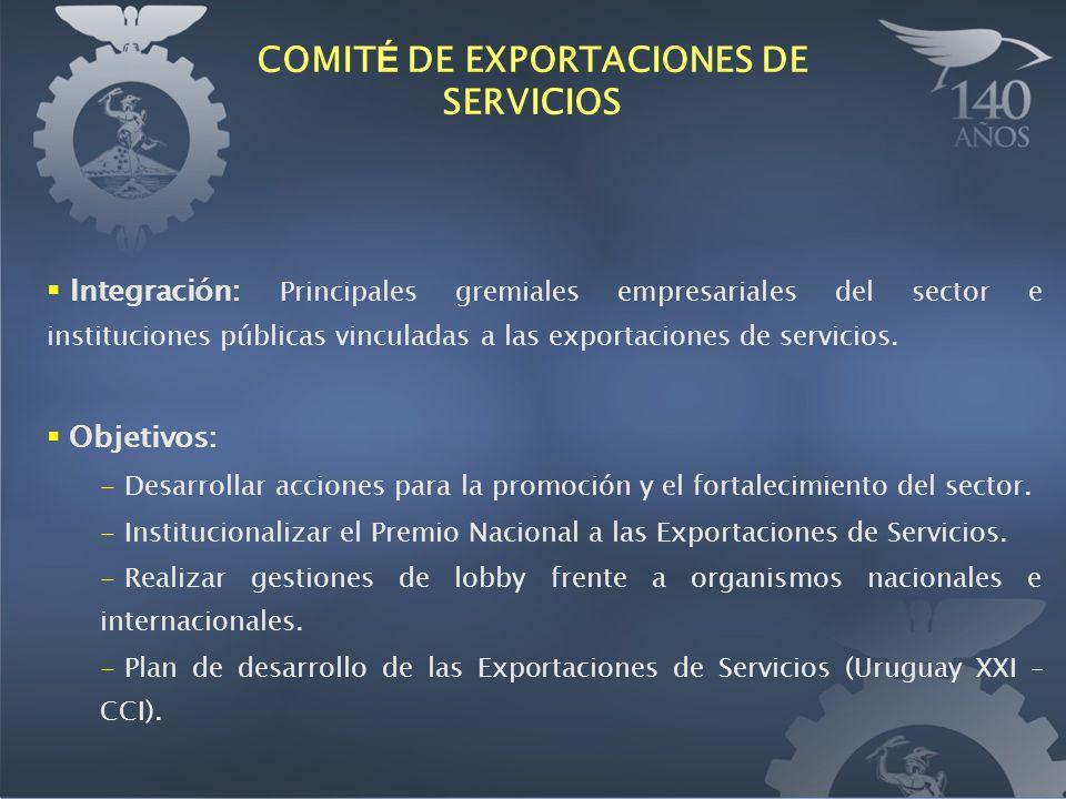Integración: Principales gremiales empresariales del sector e instituciones públicas vinculadas a las exportaciones de servicios. Objetivos: - Desarro