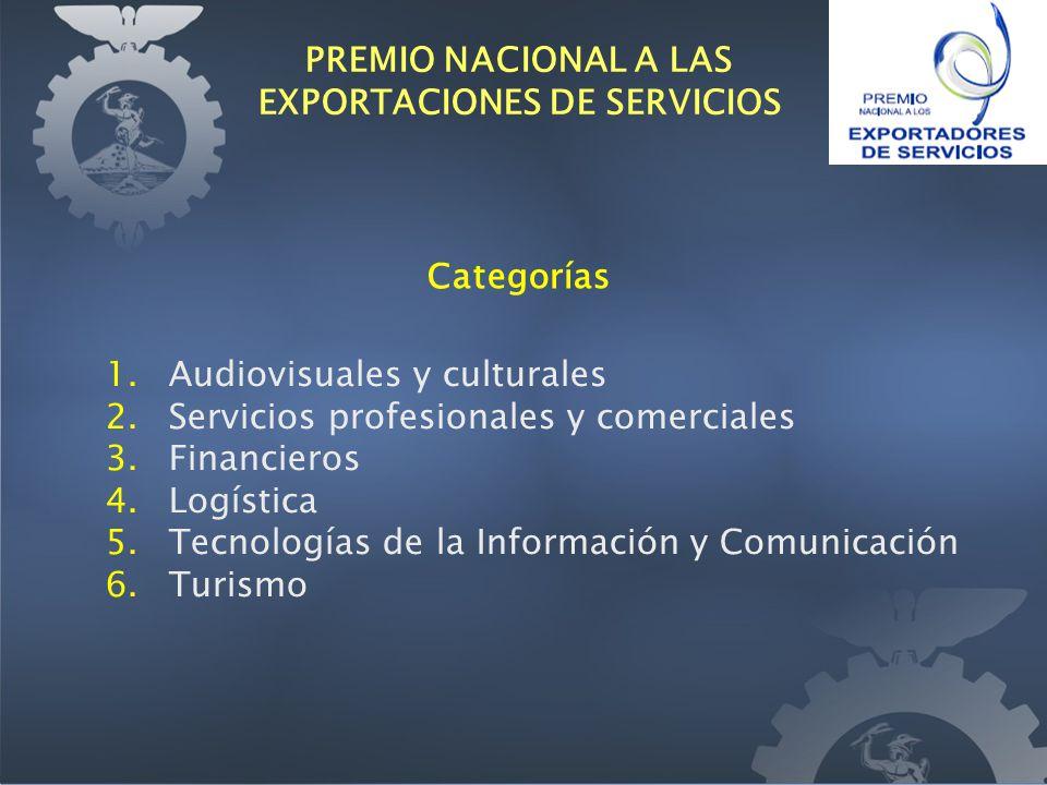 Categorías 1. Audiovisuales y culturales 2. Servicios profesionales y comerciales 3.