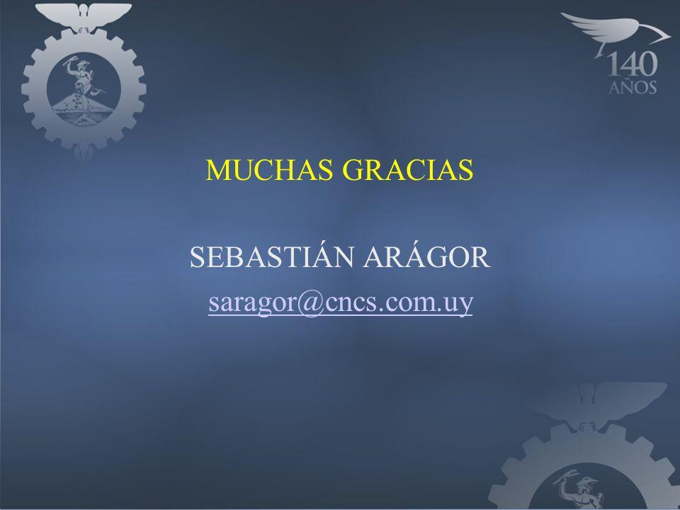 MUCHAS GRACIAS SEBASTIÁN ARÁGOR saragor@cncs.com.uy
