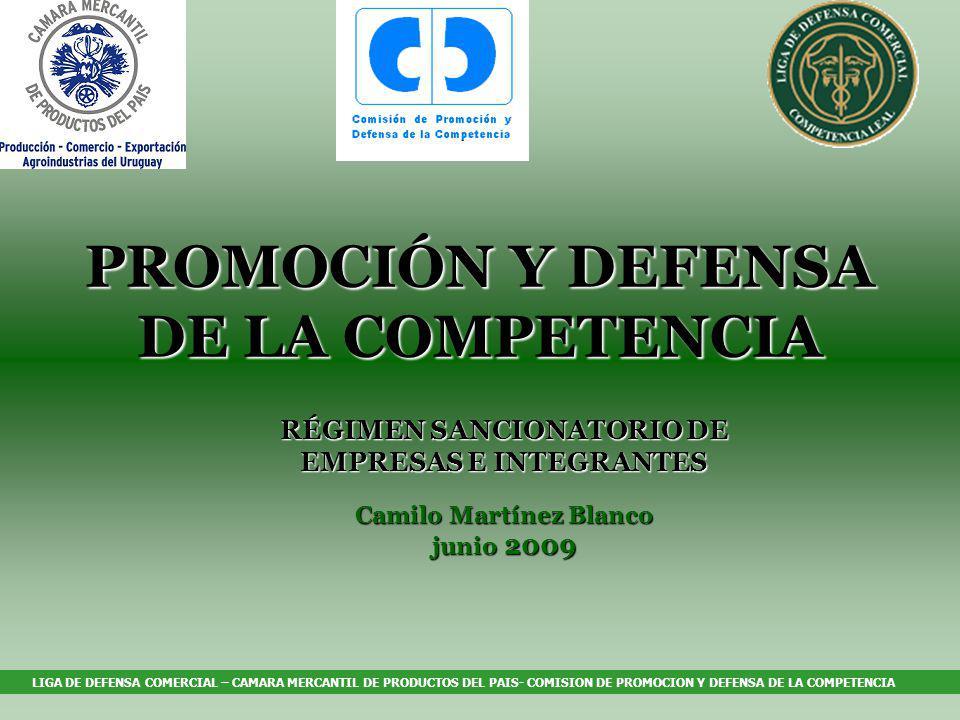 LIGA DE DEFENSA COMERCIAL – CAMARA MERCANTIL DE PRODUCTOS DEL PAIS- COMISION DE PROMOCION Y DEFENSA DE LA COMPETENCIA PROMOCIÓN Y DEFENSA DE LA COMPETENCIA RÉGIMEN SANCIONATORIO DE EMPRESAS E INTEGRANTES Camilo Martínez Blanco junio 2009,