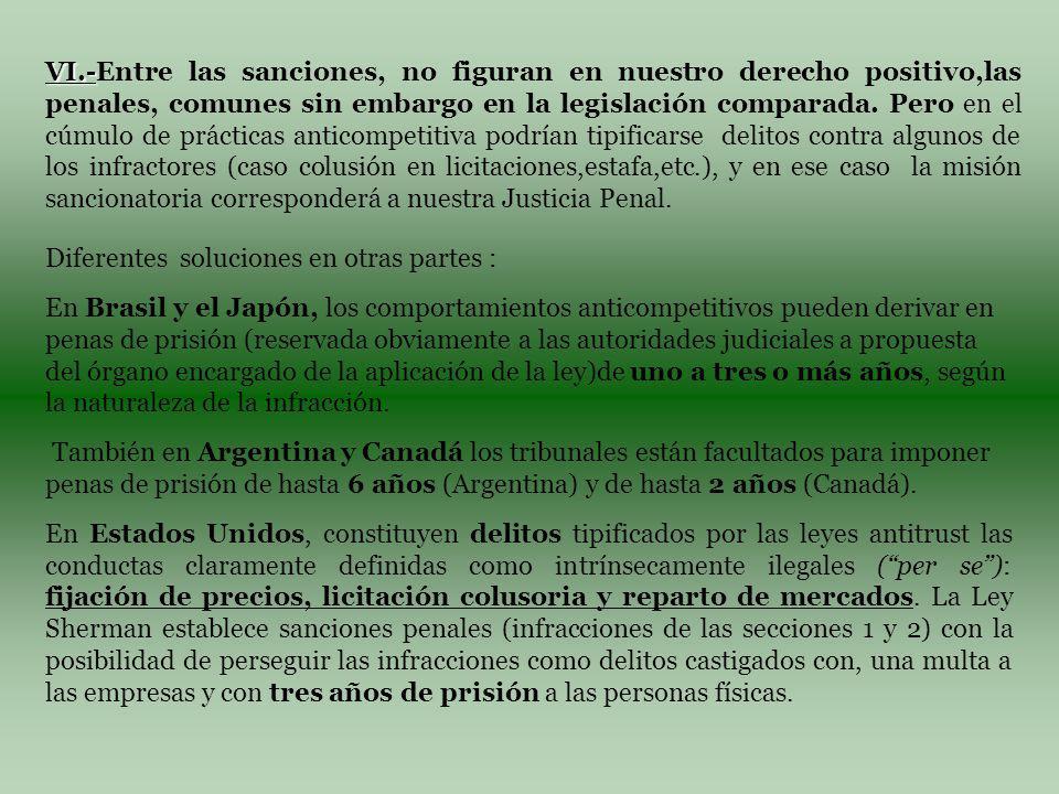 VI.- VI.-Entre las sanciones, no figuran en nuestro derecho positivo,las penales, comunes sin embargo en la legislación comparada.