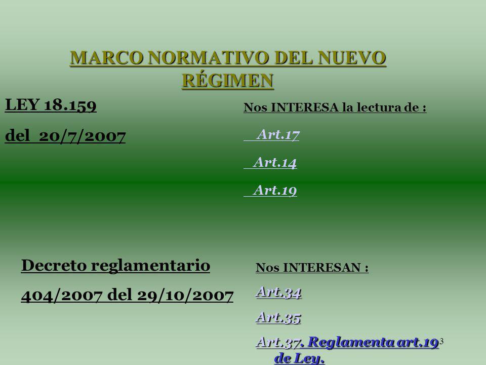 3 Decreto reglamentario 404/2007 del 29/10/2007 MARCO NORMATIVO DEL NUEVO RÉGIMEN Nos INTERESA la lectura de : Art.17 Art.14 Art.19 Nos INTERESAN : Art.34 Art.35 Art.37Art.37.