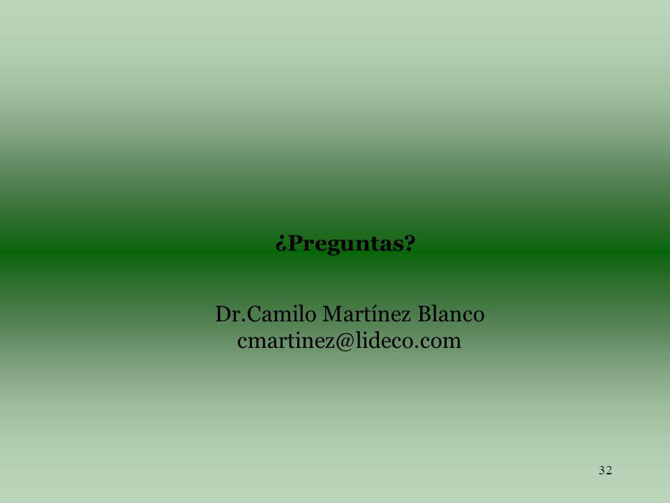 32 ¿Preguntas? Dr.Camilo Martínez Blanco cmartinez@lideco.com