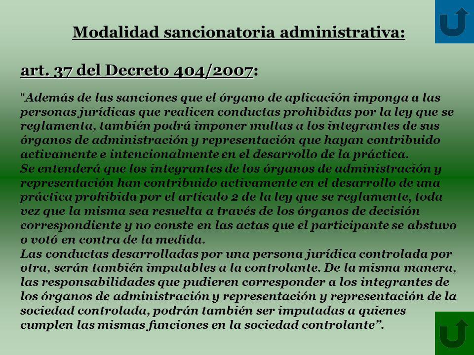 Modalidad sancionatoria administrativa: art. 37 del Decreto 404/2007 art.