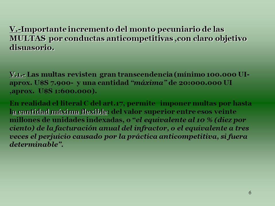 6 V.-Importante incremento del monto pecuniario de las MULTAS por conductas anticompetitivas,con claro objetivo disuasorio.