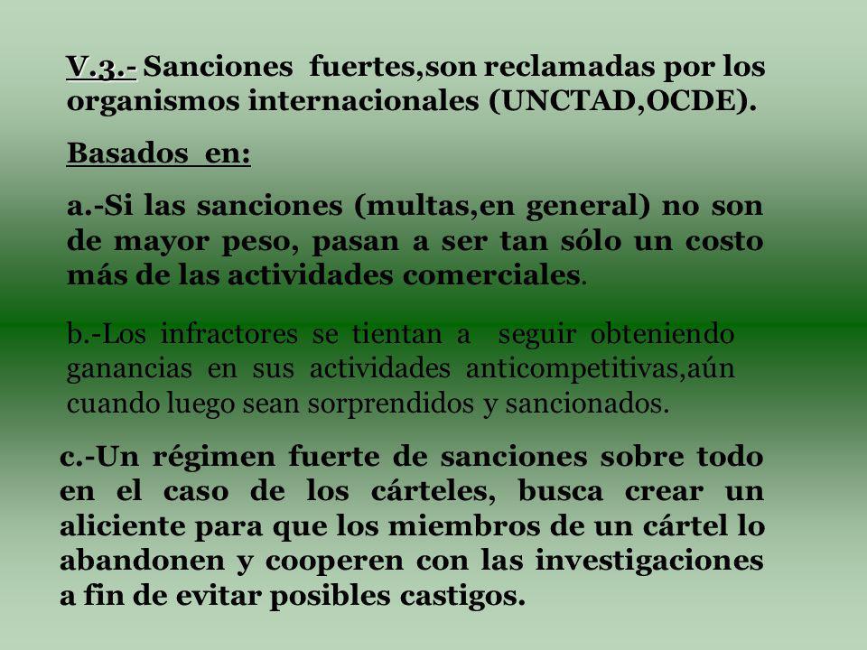 V.3.- V.3.- Sanciones fuertes,son reclamadas por los organismos internacionales (UNCTAD,OCDE).