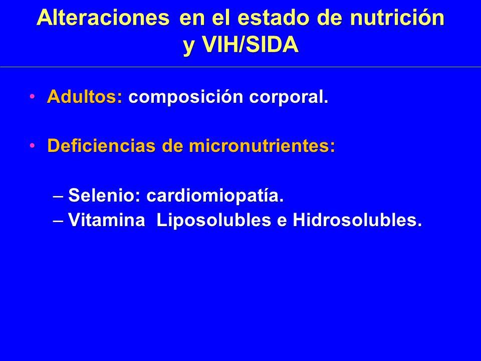 Alteraciones en el estado de nutrición y VIH/SIDA Adultos: composición corporal.Adultos: composición corporal.