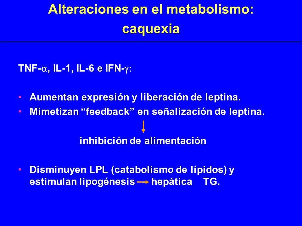 Alteraciones en el metabolismo: caquexia TNF-, IL-1, IL-6 e IFN- TNF-, IL-1, IL-6 e IFN- Aumentan expresión y liberación de leptina.Aumentan expresión y liberación de leptina.