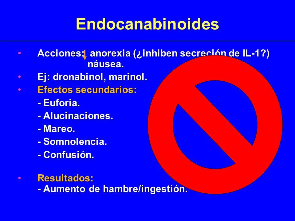 Endocanabinoides Acciones: anorexia (¿inhiben secreción de IL-1?) náusea.Acciones: anorexia (¿inhiben secreción de IL-1?) náusea.