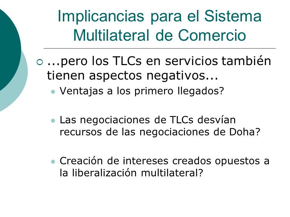 Implicancias para el Sistema Multilateral de Comercio...pero los TLCs en servicios también tienen aspectos negativos...