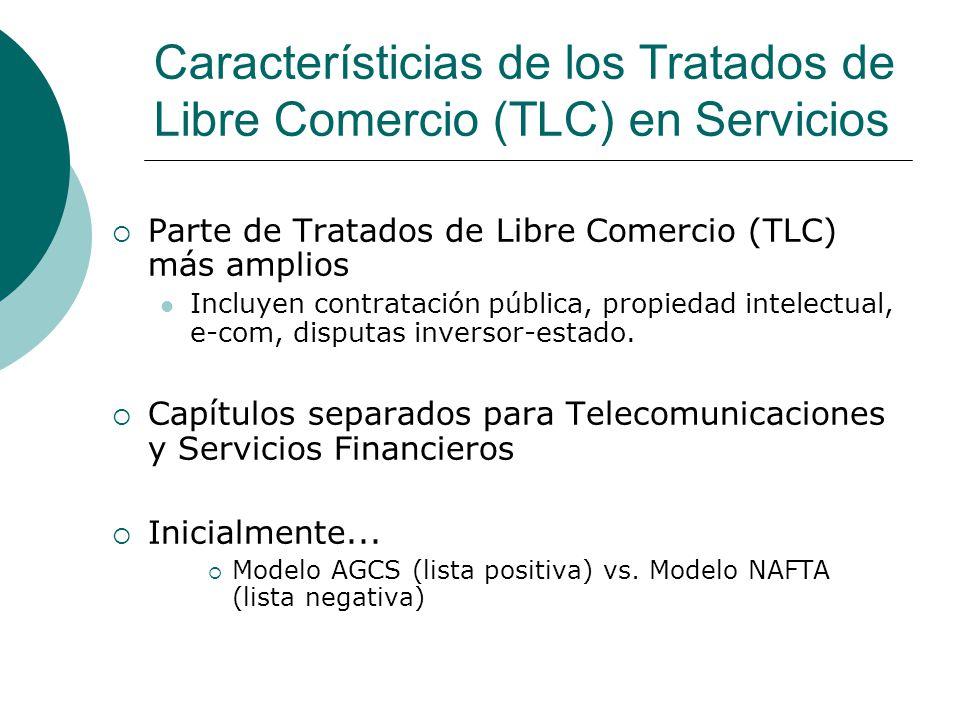 Característicias de los Tratados de Libre Comercio (TLC) en Servicios Parte de Tratados de Libre Comercio (TLC) más amplios Incluyen contratación pública, propiedad intelectual, e-com, disputas inversor-estado.