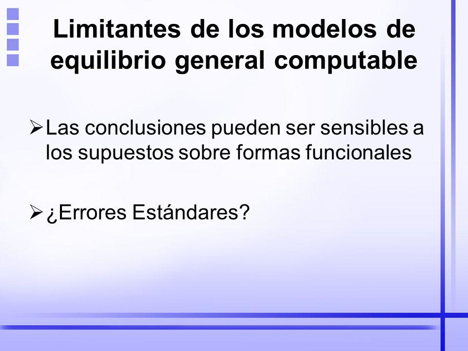 Limitantes de los modelos de equilibrio general computable Las conclusiones pueden ser sensibles a los supuestos sobre formas funcionales ¿Errores Estándares?