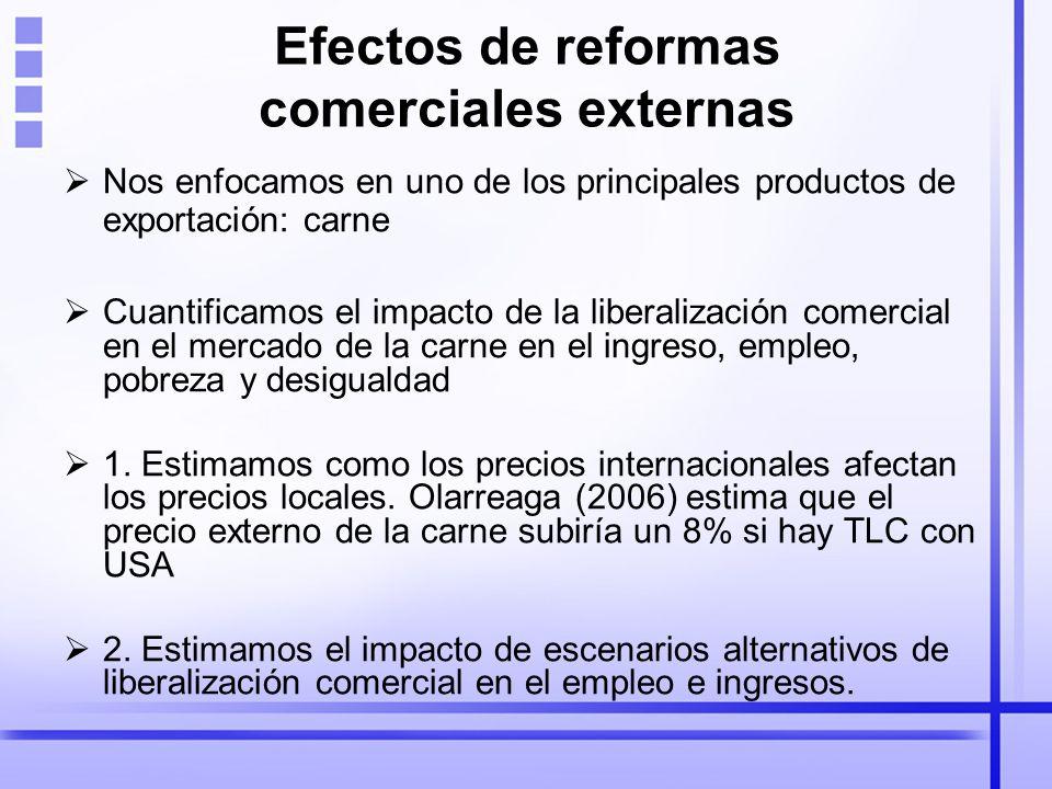 Efectos de reformas comerciales externas Nos enfocamos en uno de los principales productos de exportación: carne Cuantificamos el impacto de la liberalización comercial en el mercado de la carne en el ingreso, empleo, pobreza y desigualdad 1.