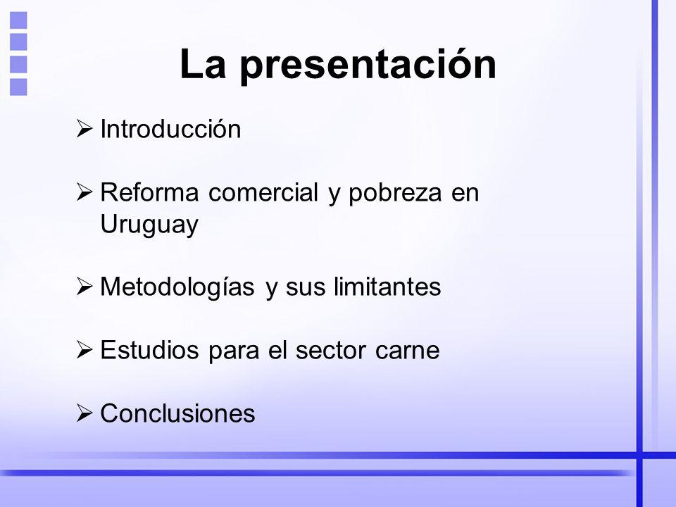 La presentación Introducción Reforma comercial y pobreza en Uruguay Metodologías y sus limitantes Estudios para el sector carne Conclusiones