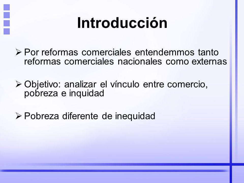 Introducción Por reformas comerciales entendemmos tanto reformas comerciales nacionales como externas Objetivo: analizar el vínculo entre comercio, pobreza e inquidad Pobreza diferente de inequidad