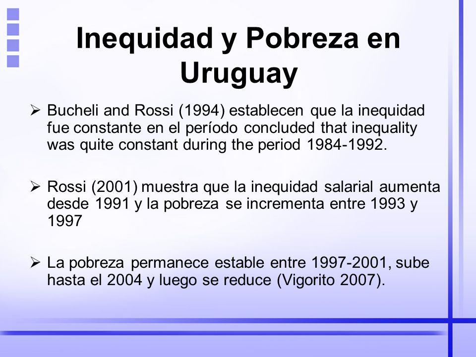 Inequidad y Pobreza en Uruguay Bucheli and Rossi (1994) establecen que la inequidad fue constante en el período concluded that inequality was quite constant during the period 1984-1992.